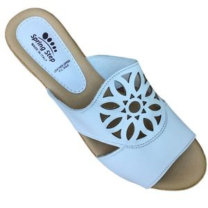 Spring Step White Leather Cushioned Wedge Sandals9